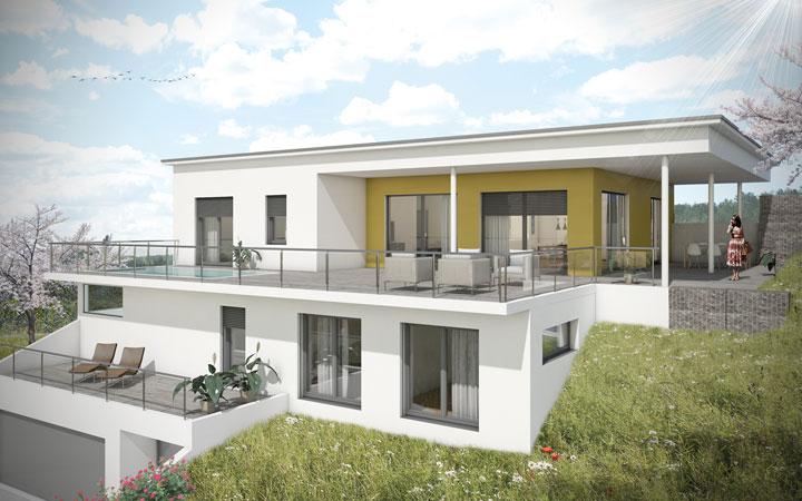 Villa bauen luxus villa moderne villa stadt villa for Villa flachdach